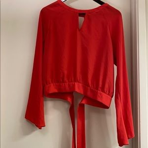 Express medium long sleeve crop top with stains